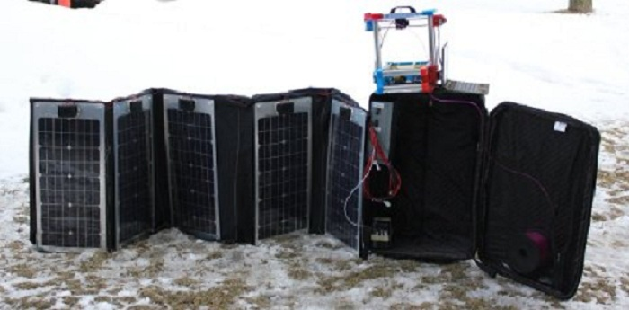 Michigan Technological University's solar-powered 3D printer fits in a suitcase. MTU photo.