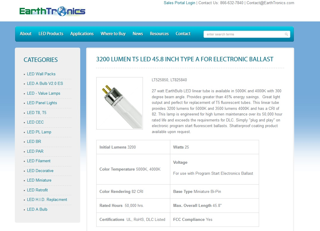 MUSKEGON U2014 EarthTronics, The Muskegon Based LED Lighting Manufacturers, Has  Announced A New Type A Direct Install T5 LED Linear Tube To Easily Replace  T5 ...
